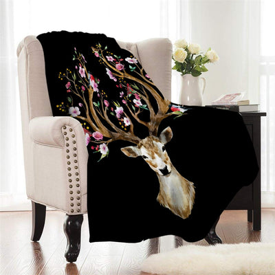 Flower elk elk coral fleece blanket