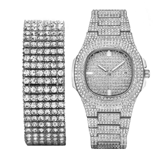 Iced Out Set - Watch & Bracelet - 2 Colourways