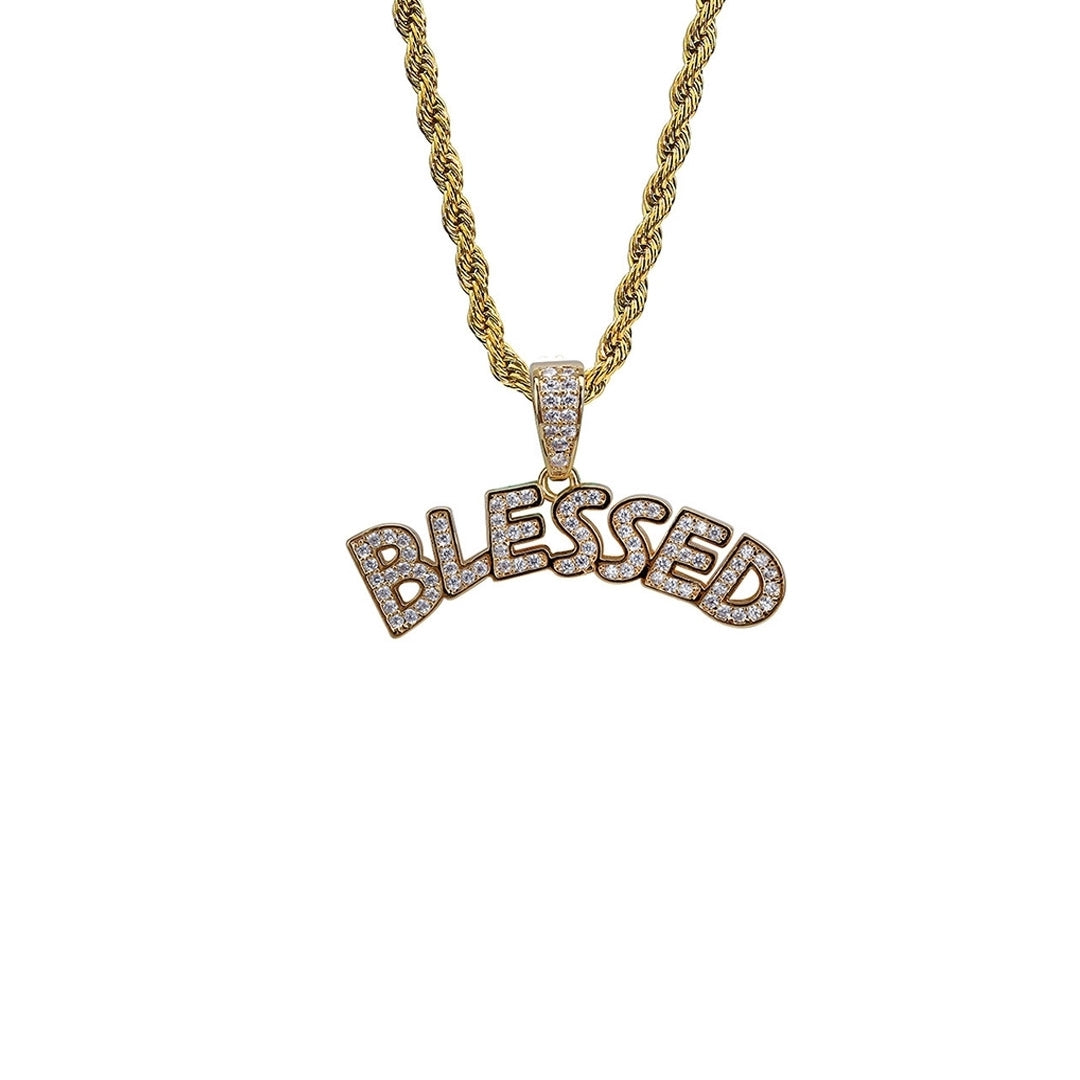 """Blessed"" Iced Out Pendant Necklace - 2 Colourways"