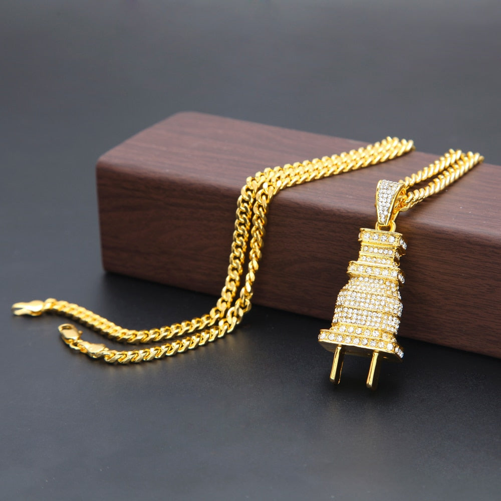 """Plug"" Iced Out Pendant Necklace - Gold / Silver"