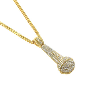 """Mic"" Iced Out Pendant Necklace - 2 Colourways"
