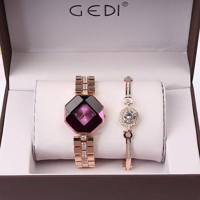 "Ladies Set ""Gedi"" - Watch & Bracelet - 4 Colourways"