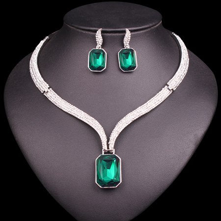 "Ladies Set ""Crystal"" - Necklace & Earrings - 7 Colourways"