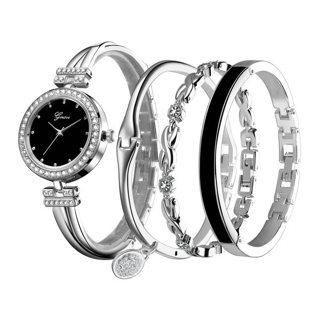 "Ladies Set ""Ginave"" - Watch & 3 Bracelets - 3 Colourways"