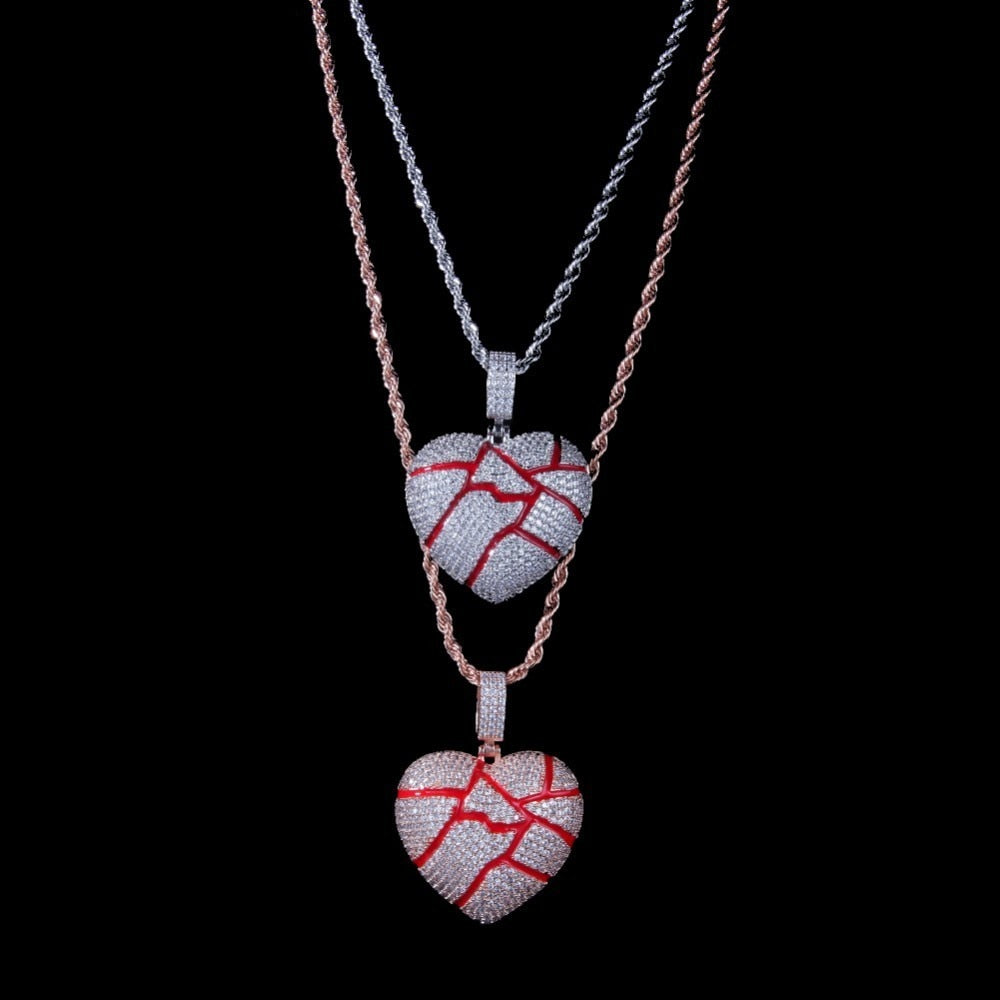 """Broken Heart"" Iced Out Pendant Necklace - 2 Colourways"