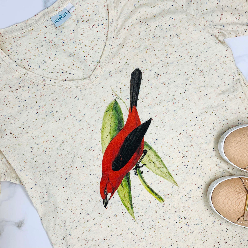 Long Sleeves Red Bird T-shirt