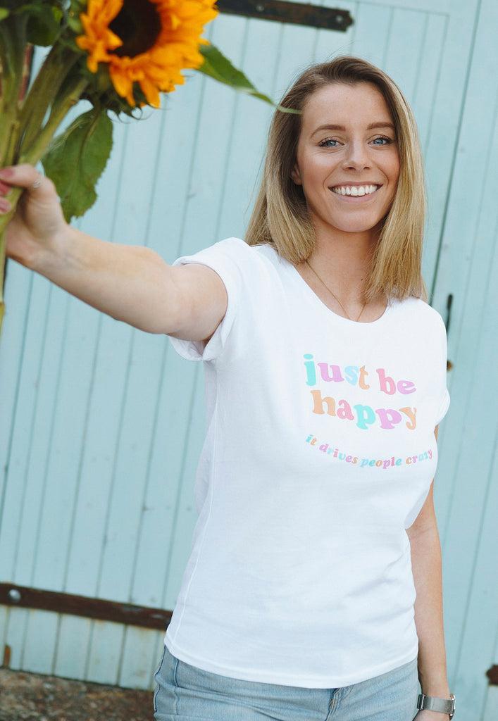 Just Be Happy Rolled Sleeve Tee