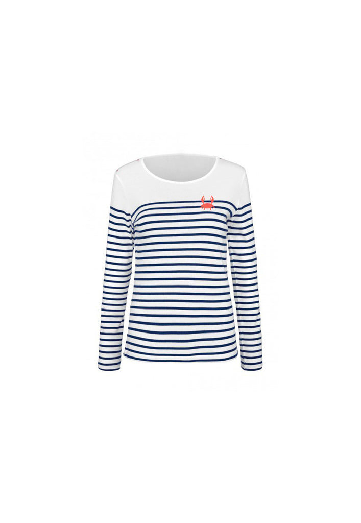 Long Sleeves Stripes Crab Tee