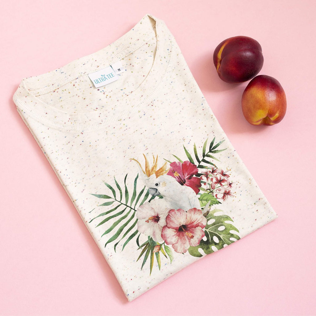 White Parrot Speckled Tee