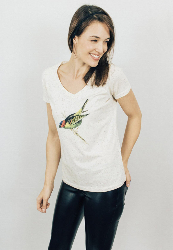 Green Bird V-neck Tee