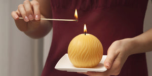 round pure beeswax candle