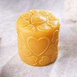 "Love 3""x3"" Pure Beeswax Pillar Candle"