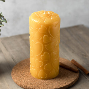love 3x6 pure beeswax pillar candle