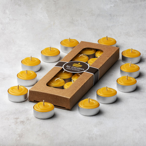 packaged pure beeswax tealights