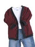 Red Stripe print cardigan Newborn to 2t by AnkleBitersKids with pants
