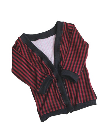 Red Stripe print cardigan Newborn to 2t by AnkleBitersKids lay flat front