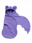 Anklebiterskids.com lilac bat baby swaddle wrap wing open