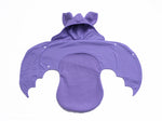 Anklebiterskids.com lilac bat baby swaddle wrap wings open