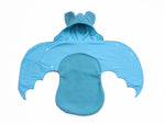 Anklebiterskids.com handmade baby Mint bat swaddle blanket wings open
