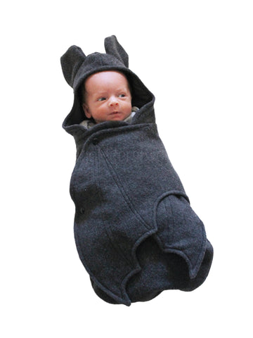 Grey Baby Bat swaddle blanket front
