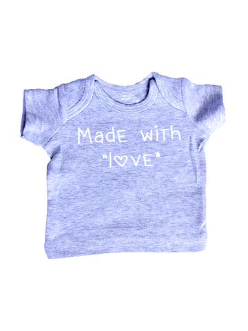 made with love grey infant t shirt