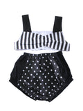 4T Retro Ruby Black stripe and polka dot cotton swimsuit by AnkleBitersKids