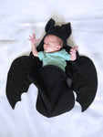 Solid Black Baby Bat swaddle blanket sleeping bag by AnkleBitersKids 1