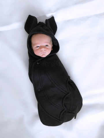 Solid Black Baby Bat swaddle blanket sleeping bag by AnkleBitersKids2