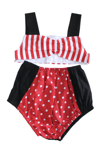 4T Retro Ruby red stripe and polka dot cotton swimsuit by AnkleBitersKids