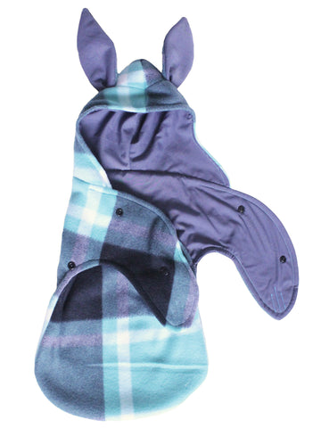 Grey and teal plaid bunny swaddle blanket