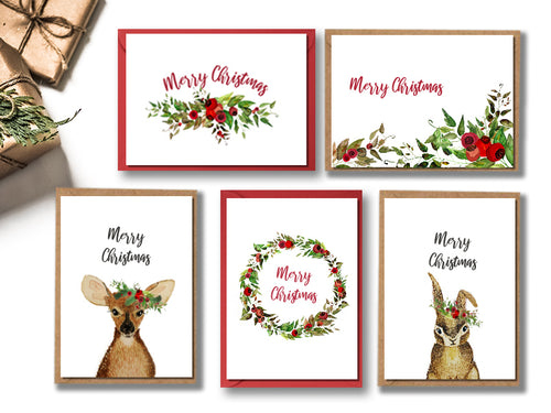 Animals and Berries - Christmas Cards - Set of 10