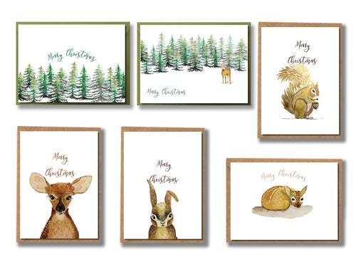 Forest Animals - Christmas Cards - Set of 12