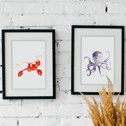 Watercolor Octopus & Lobster