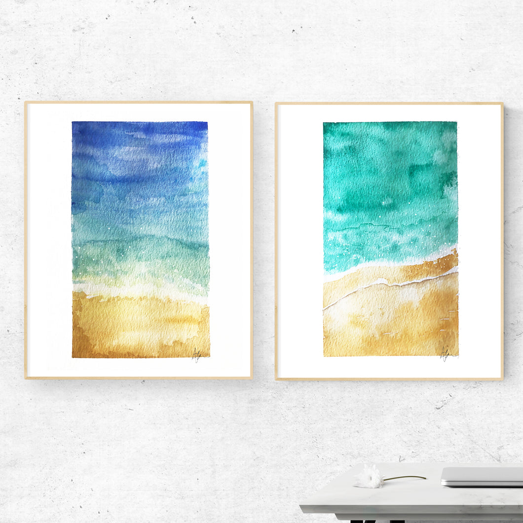 Abstract Watercolor Beach Scenes - Set of 2