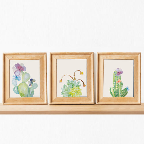 cactus wall art watercolor hand painted beautiful