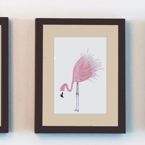 flamingo wall art watercolor prints hand painted