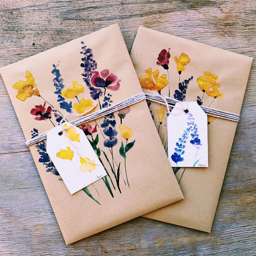 "Add on: Luxury hand-painted gift wrap ""Wild Flora"""