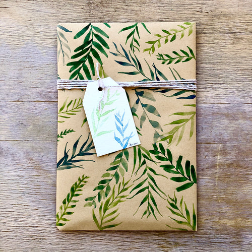 "Add on: Luxury hand-painted gift wrap ""Foliage"""