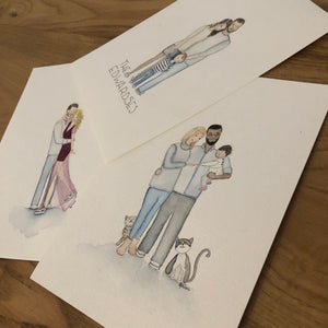 Personalised Watercolour Family - Original Painting