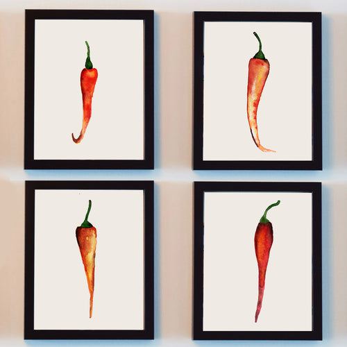 chilli peppers watercolor wall art prints set hand painted