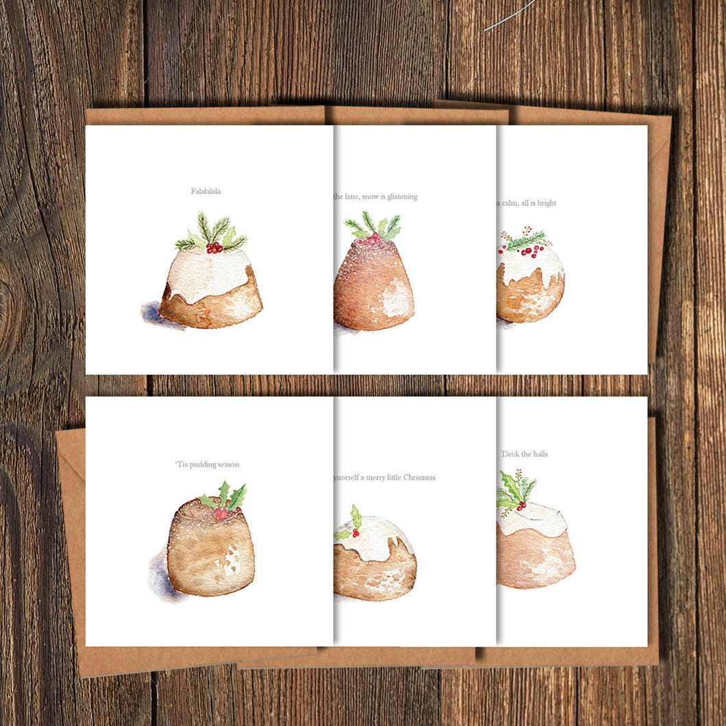 Christmas Puds - Christmas Cards - Set of 12