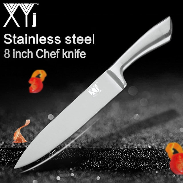 Xyj 7cr17 Stainless Steel Kitchen Knives Set Fruit Utility Santoku Chef Slicing Bread Cooking Knife One Piece Structure Knives