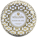 Voluspa Suede Blanc | 2 Wick Maison Tin Candle