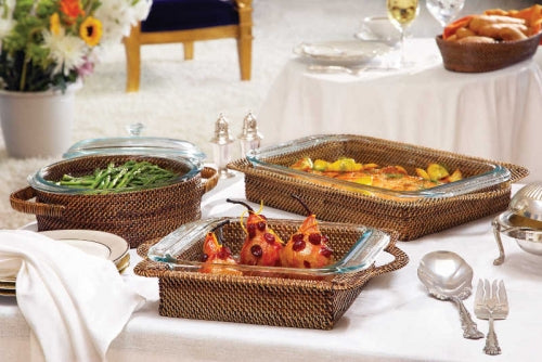 Rattan and Pyrex Bakeware