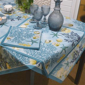 Beauville Corail Blue Table linens