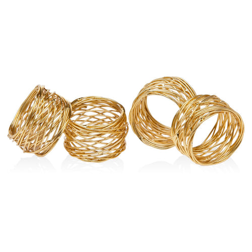 Gold wire napkin ring set of 4