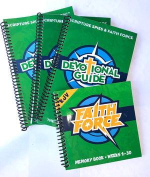 Traditional Green Faith Force Bundle - 1 Memory Book + 3 Devotional Books