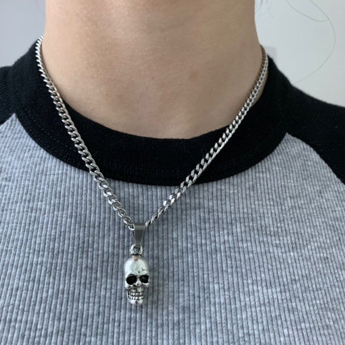 Skull pendant mini cuban necklace