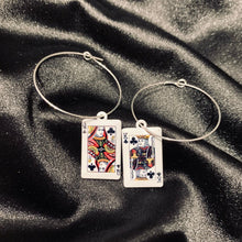 Load image into Gallery viewer, Playing cards hoop earrings