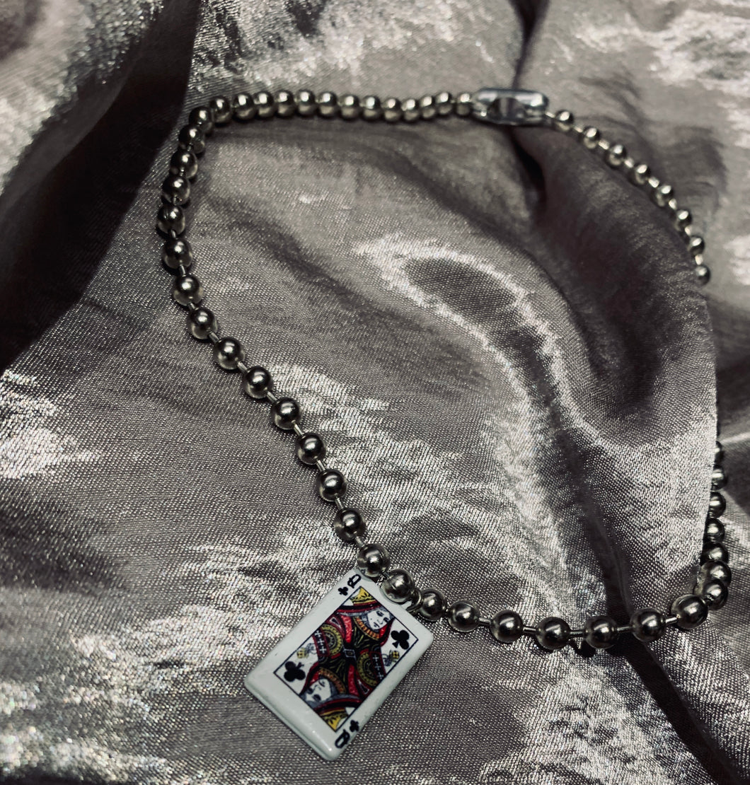 Playing card ball chain choker